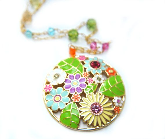Colorful Necklace  pink green blue purple yellow in by alejandracc, $22.50