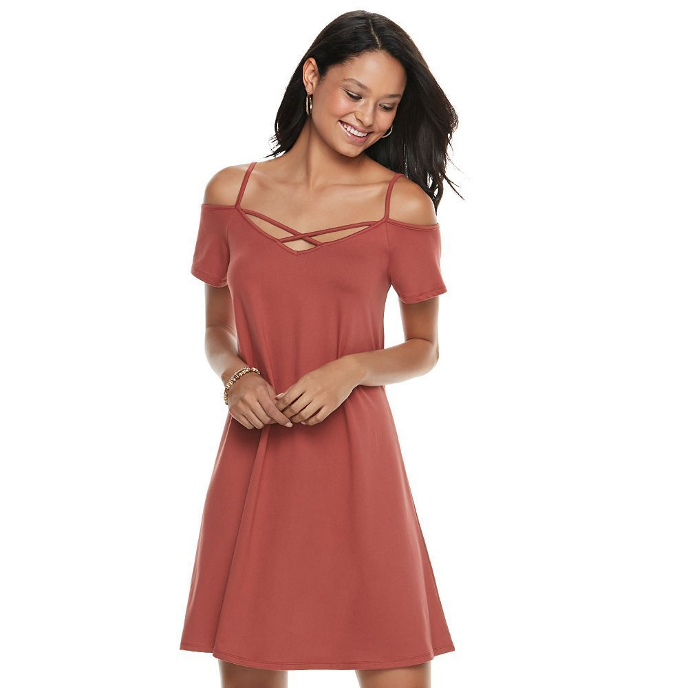 Juniors' Mudd® Strappy Off-the-Shoulder Fit & Flare Dress, Teens, Size: Medium, Red