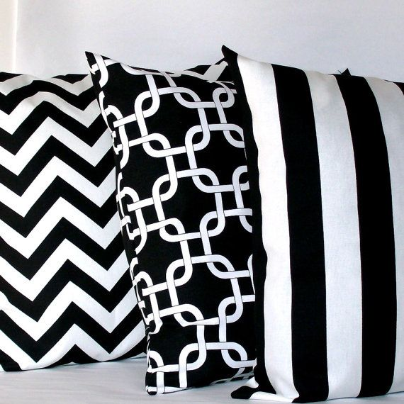 black and white pillow covers three 18x18 inch striped chain chevron decorative cushion covers - Black And White Decorative Pillows