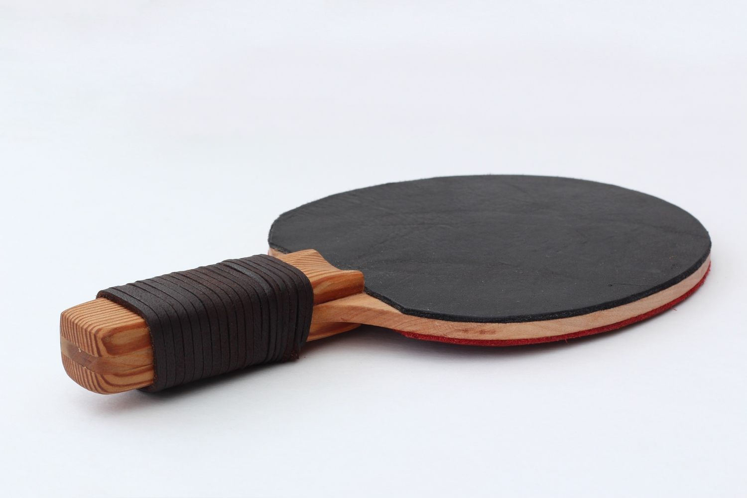 Leather Paddle W Wrapped Leather Handle Leather Handle Leather Ping Pong