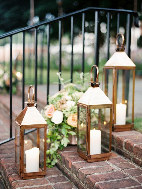 Gold Lanterns Http Www Sarahderphotography Com Blog Wedding Lights Wedding Entrance Gold Lanterns