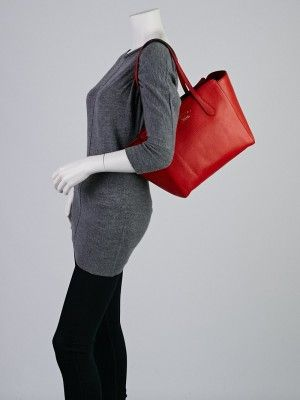 Gucci Red Pebbled Calfskin Leather Small Swing Tote Bag