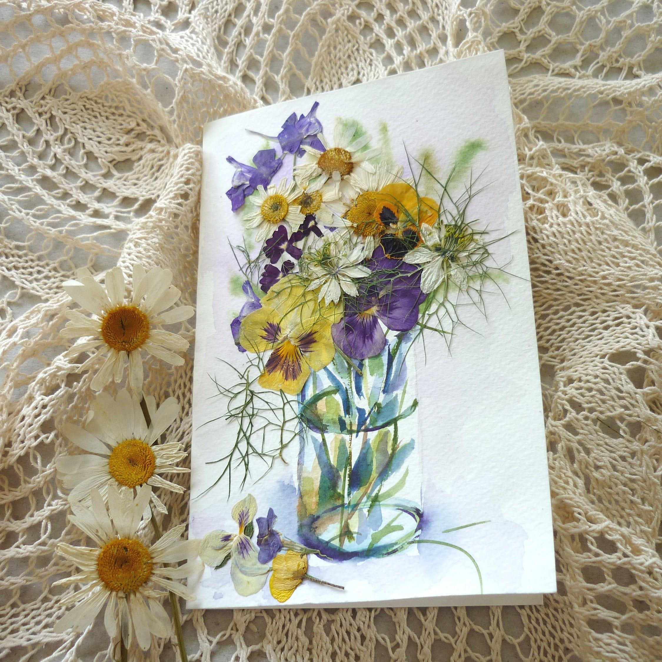 dried flower cards pressed flowers art thank you note