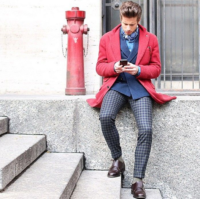 Red coat + navy suit // fashion week