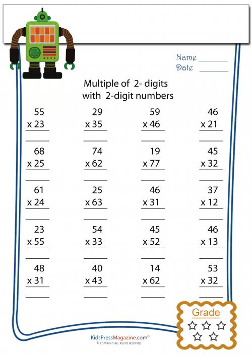 2 Digit Multiplied By 2 Digit Worksheet 2 Multiplicacion