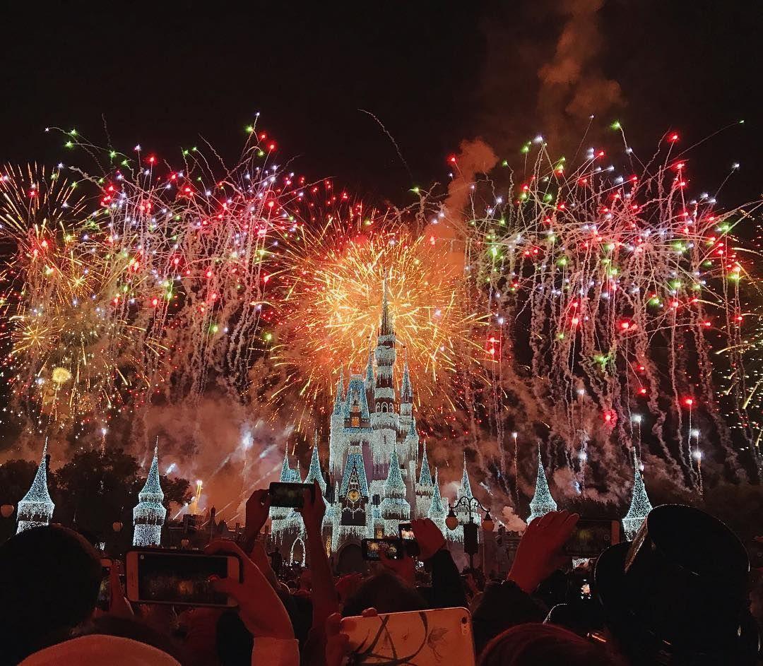 Walt Disney World Magic Kingdom Fireworks New Years Eve Disney Nye New Year Instagram Castle Cinderella S Ca Blush And Gold Instagram Cinderella Castle