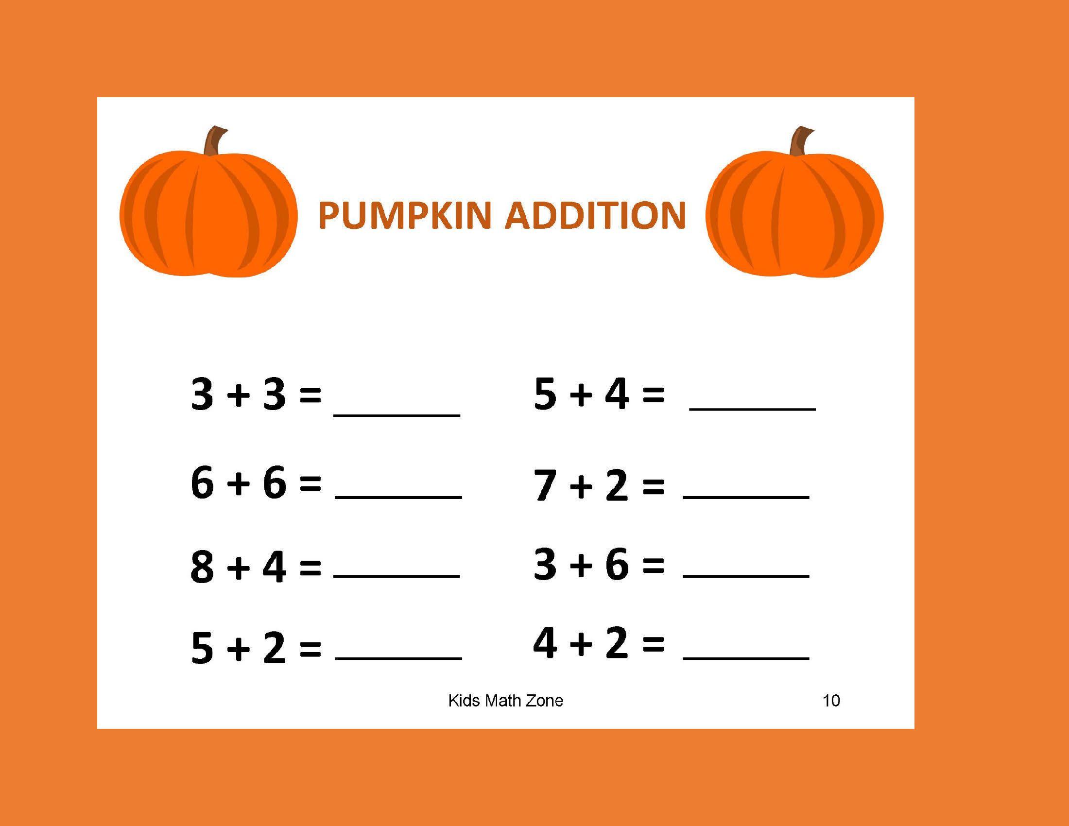 Pumpkin Addition B 12 Worksheets Pdf Preschool Kindergarten Year 1 2 Grade 1 2 Printable Work Math Worksheets Kids Math Worksheets Halloween Preschool