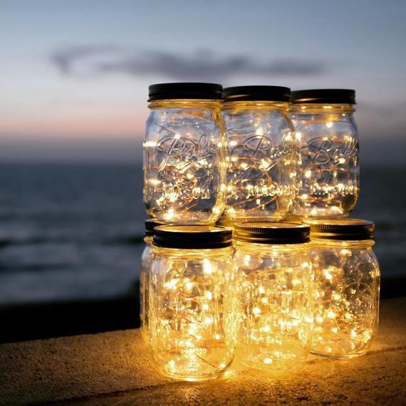 Firefly Lights and Mason Jar, Outdoor Lightning, rustic, Fairy Lights, Mason Jar Lights, String Lights, Wedding Lights, Wedding Centerpiece #fairylights