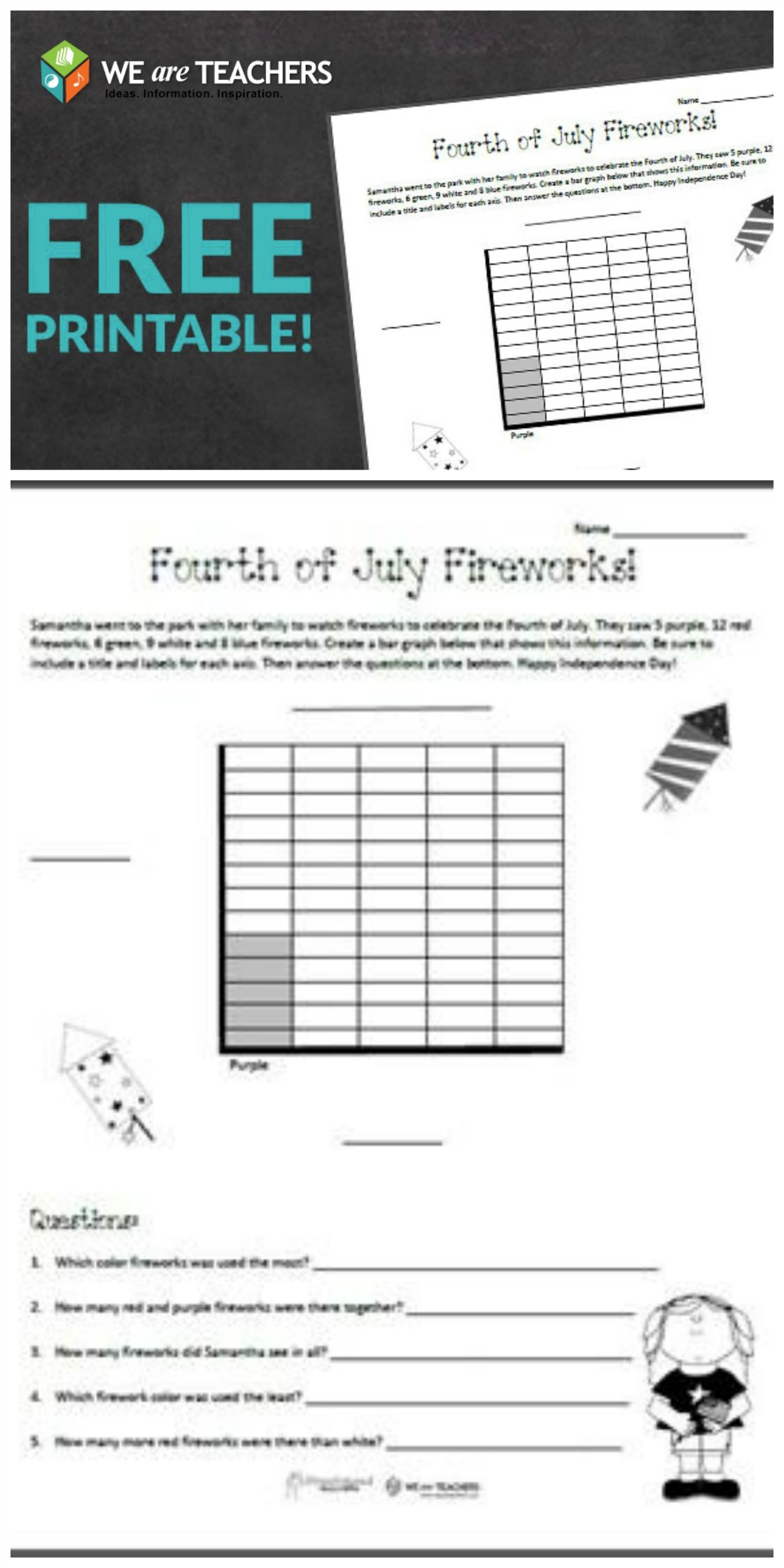 Free Printable Fourth Of July Graphing Grades 2 3
