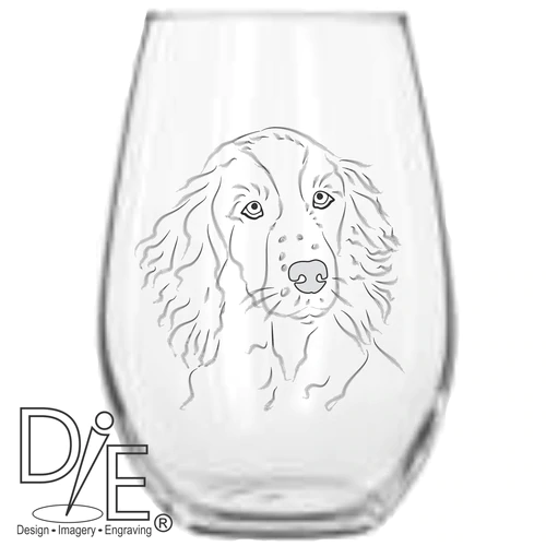 Can be Personalised Cocker Spaniel Dog Gift Large Crystal Engraved Wine Glass