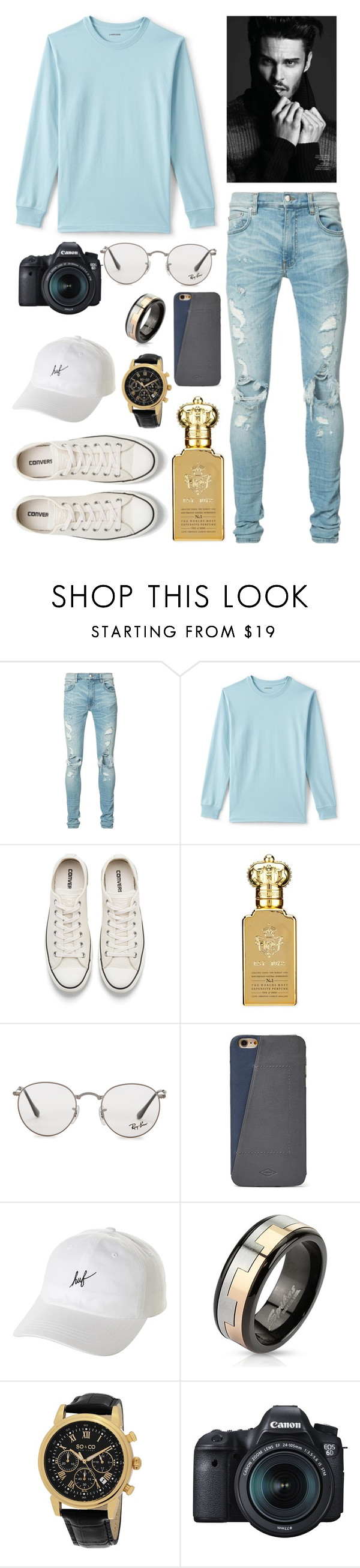 """""""~Jaden's First Day Outfit For My Book~"""" by logibear1534 on Polyvore featuring AMIRI, Lands' End, Converse, Clive Christian, Ray-Ban, FOSSIL, HUF, West Coast Jewelry, SO & CO and Eos"""