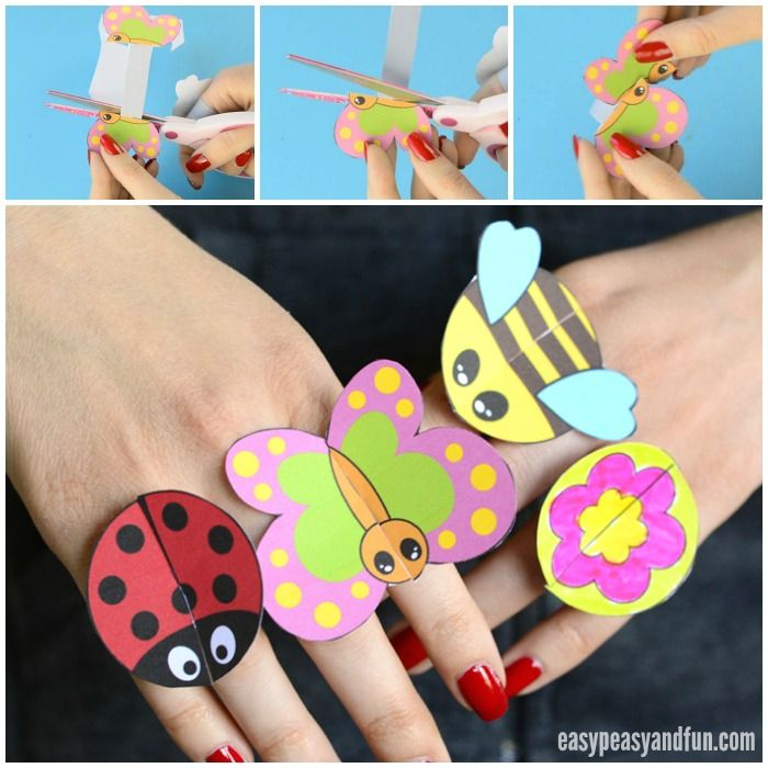 Printable bug paper rings for kids craft template for Large plastic rings for crafts