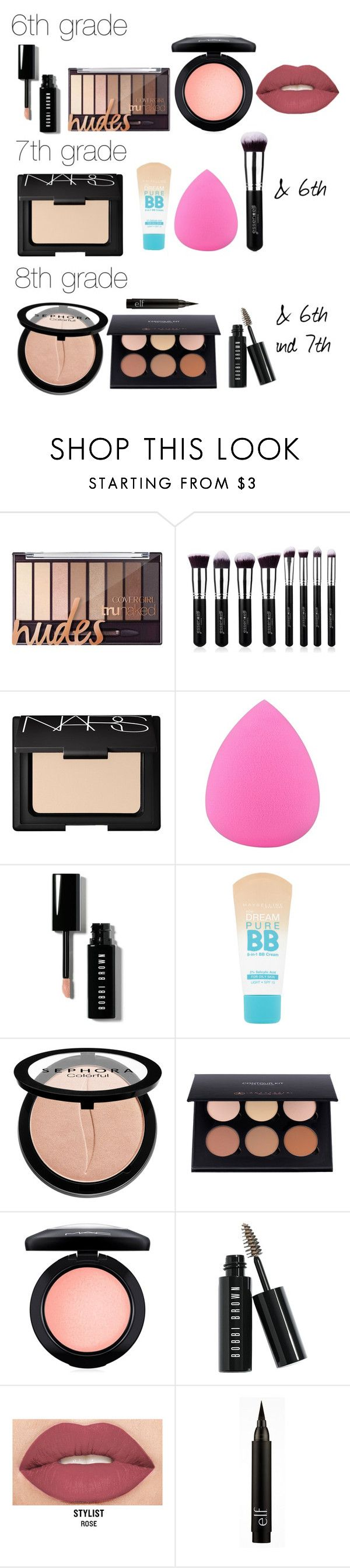 """""""Middle School Makeup"""" by katerogers219 on Polyvore featuring beauty, NARS Cosmetics, Zodaca, Bobbi Brown Cosmetics, Maybelline, Sephora Collection, ..."""