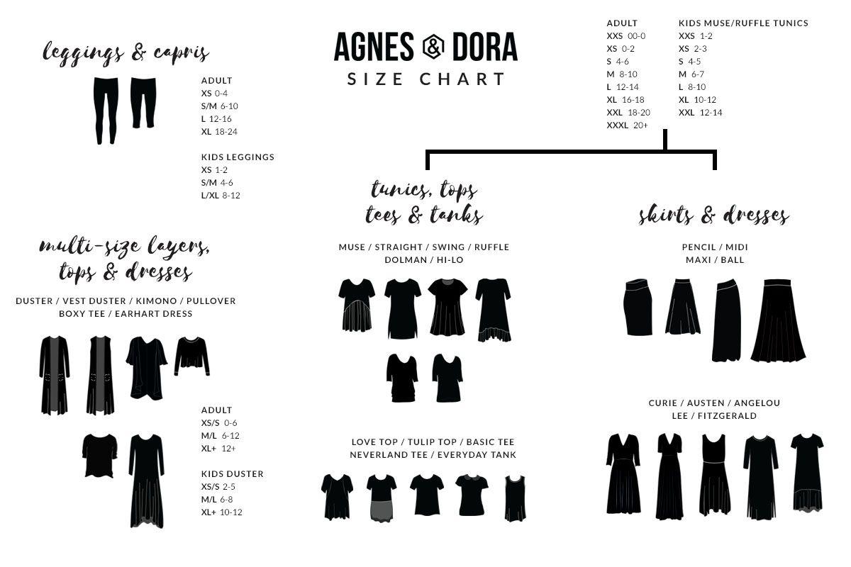 Agnes  Dora Size Chart WwwAdoreshopstyleCom  Agnes And Dora