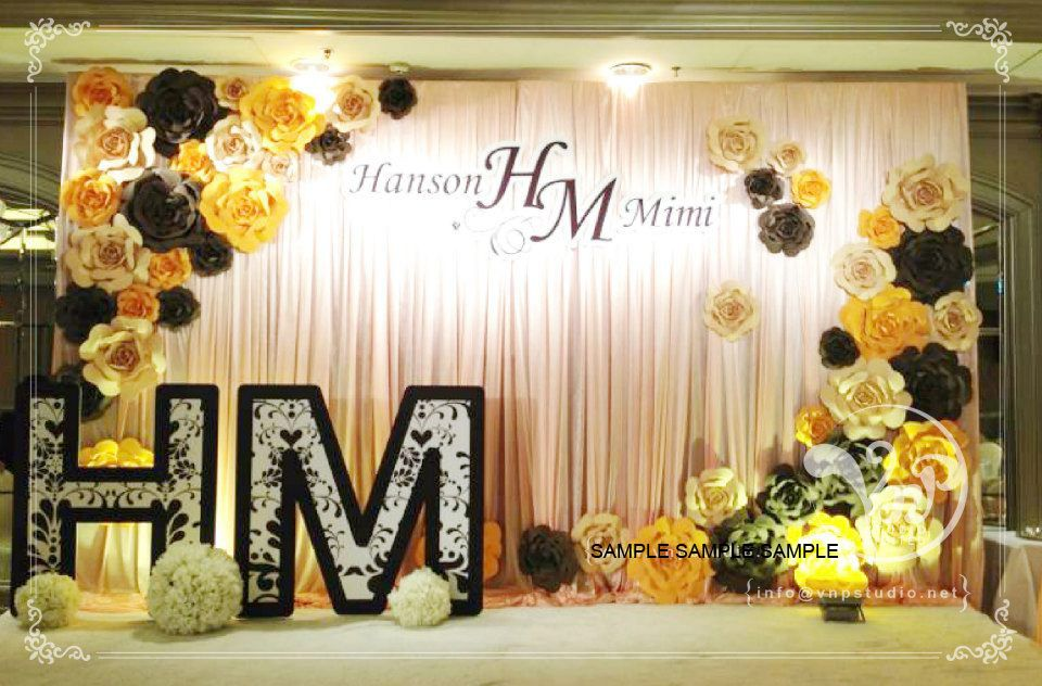 wedding backdrops with paper flowers
