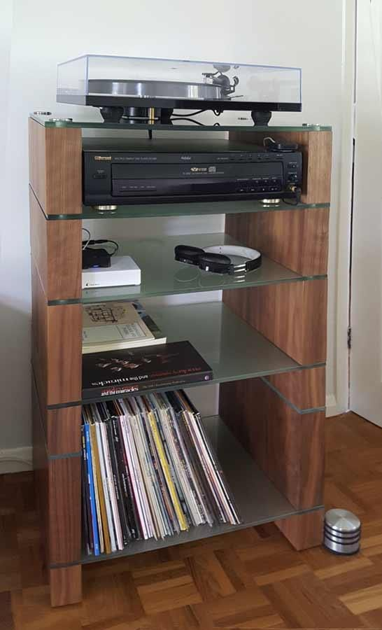 Stax 500 Lp Combined 12 Vinyl Storage Hifi Stand Entertainment Center Shelves Glass Shelves