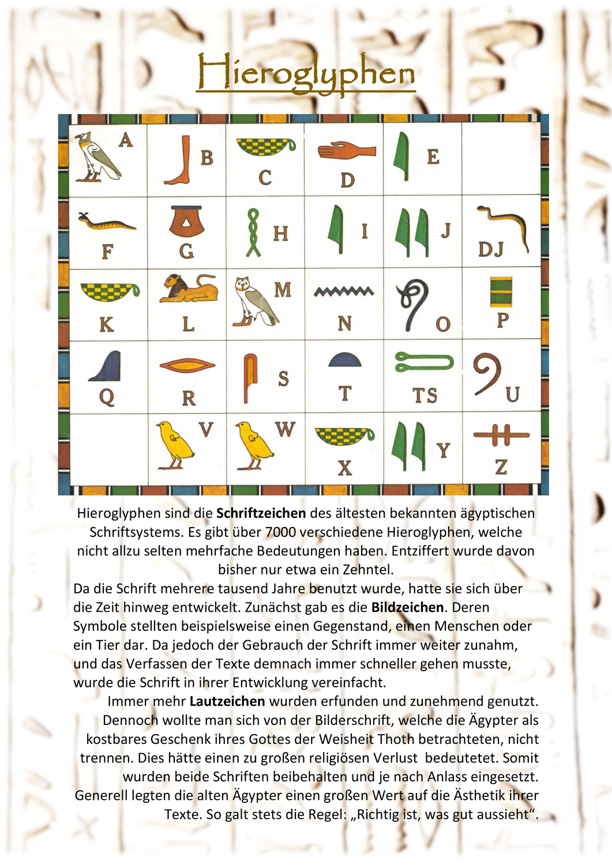 20. Altes Ägypten   Hieroglyphen [Geschichte ...