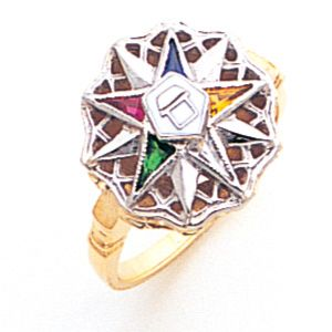 Eastern Star Ring With Sunburst Top 10k Two Tone Gold In 2020 Eastern Star Eastern Star Jewelry Star Ring