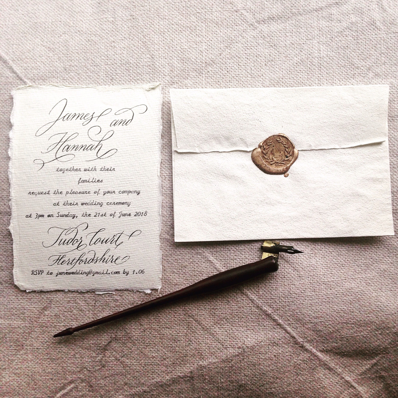 Custom calligraphy on handmade cotton paper for wedding