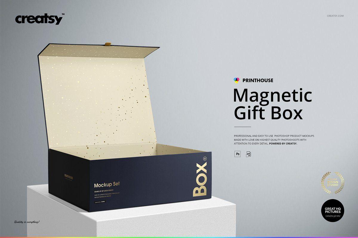 Download Magnetic Gift Box Mockup Set Magnetic Gift Box Box Mockup Gift Box