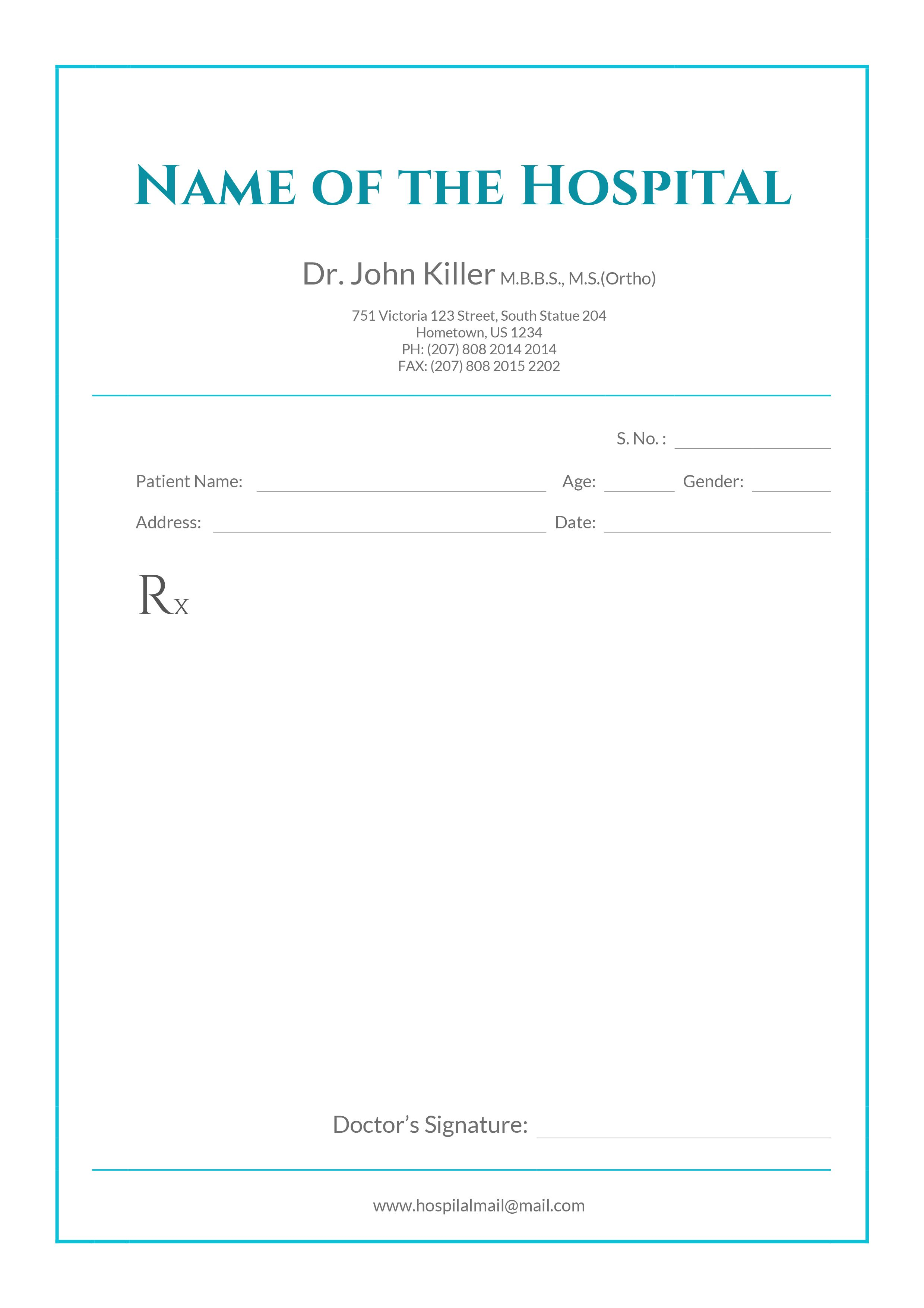 Free Ophthalmologist Doctor S Prescription Templates Free Words