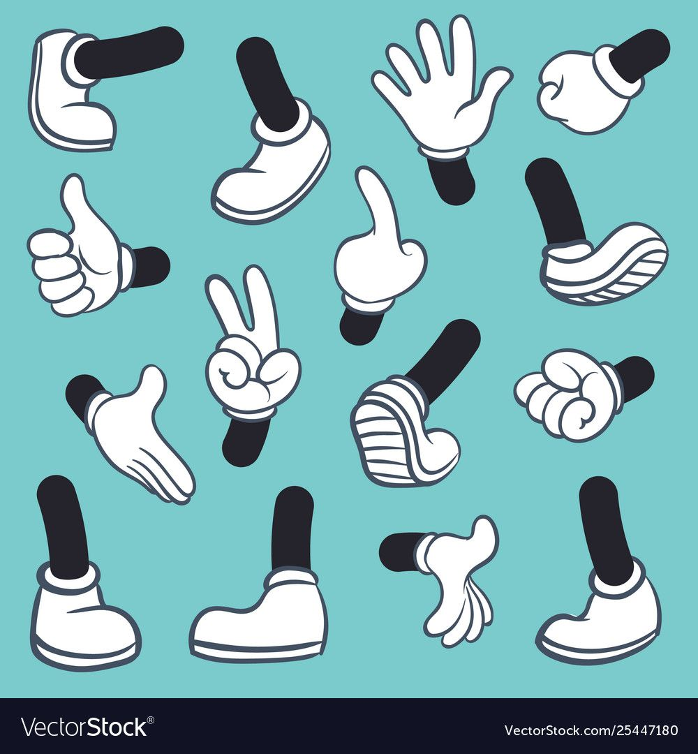 Cartoon Legs Hands Leg In Boots And Gloved Hand Pointing Ok Gestures Parts Body Comic Feet In Shoes Different Poses Cartoon Legs Cartoon Body Cartoon Design