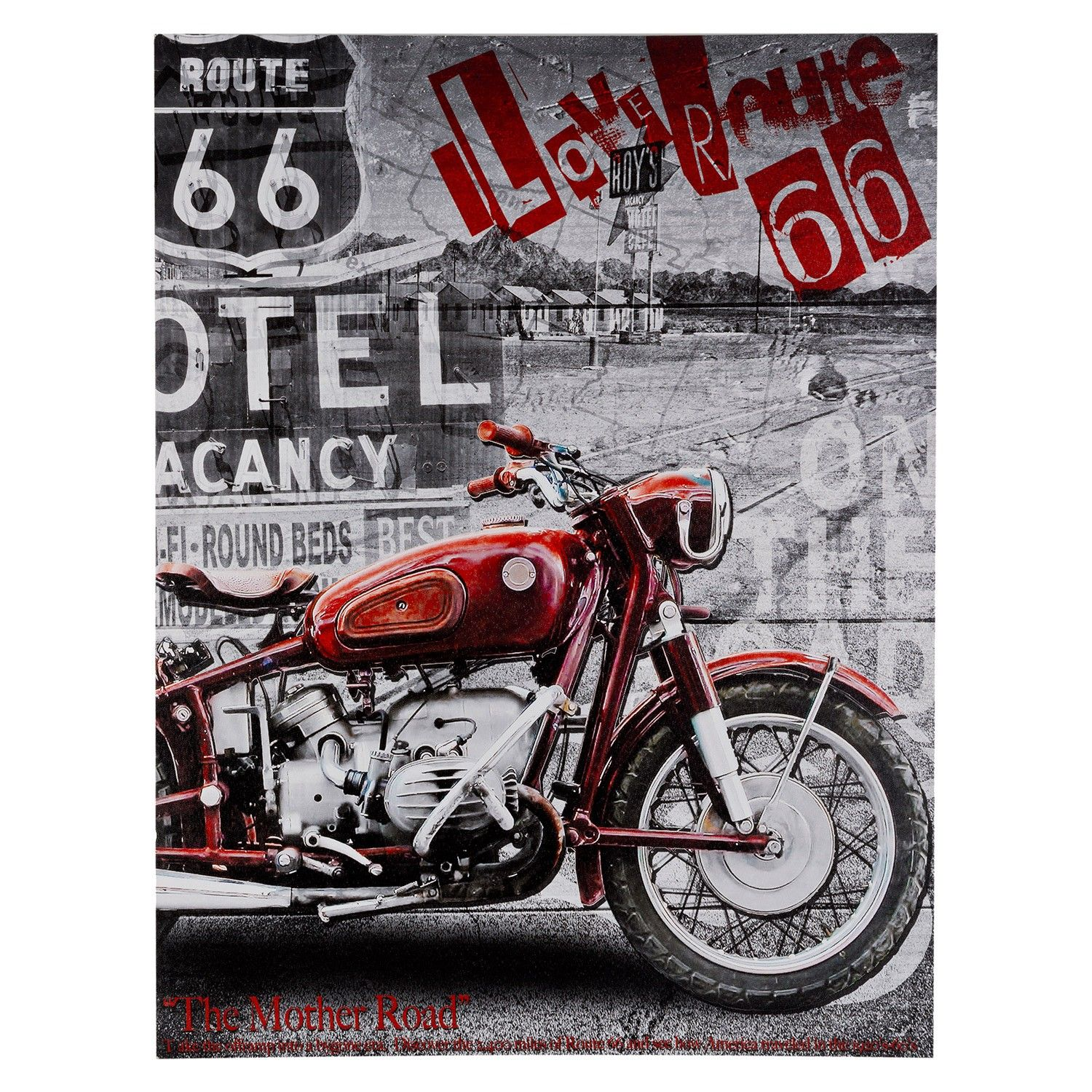 Route 66 Motorcycle Canvas Wall Art