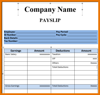 Superb 7+ Salary Slip Format Pdf | Budget