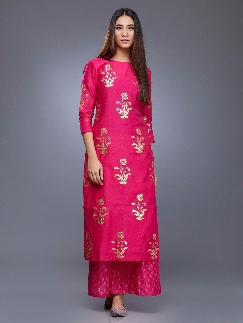 15ccaa0271 Pink Chanderi Gulmohar Block Printed Kurta in 2019 | Anarkali ...