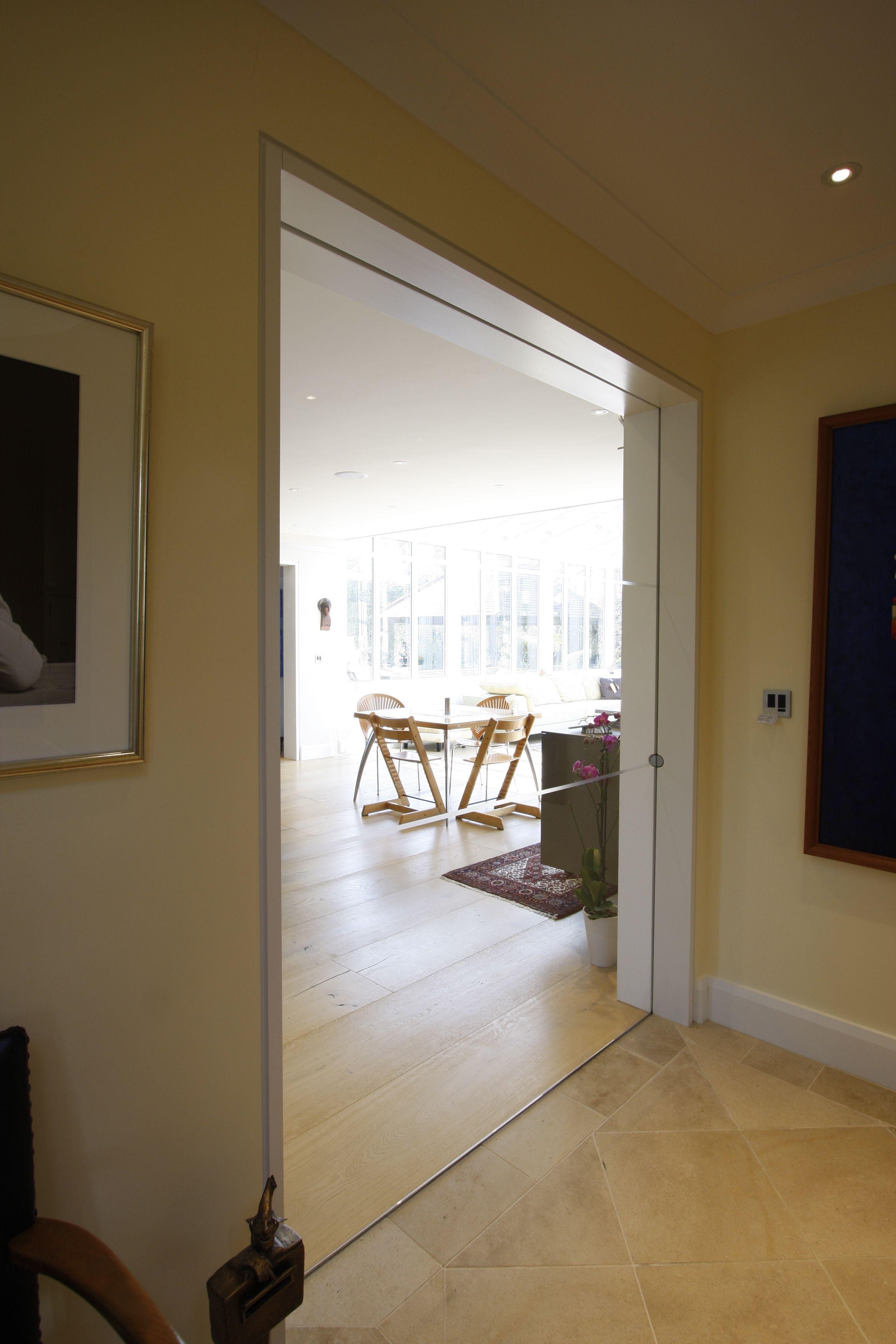 Sliding Door Into Wall internal single glazed, low iron frameless sliding door into