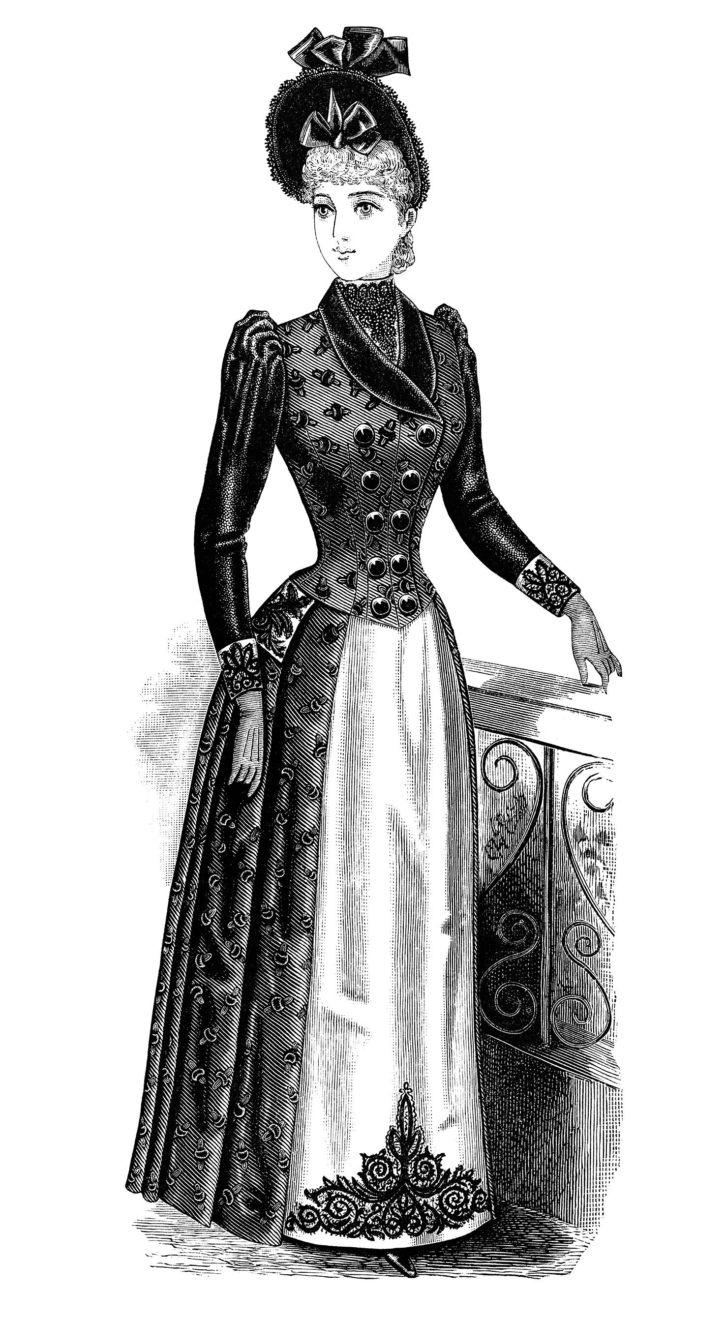 Victorian Lady Clipart Black And White Clip Art Free Vintage Fashion Image Antique Las Dress Ilration Women S Clothing 1900