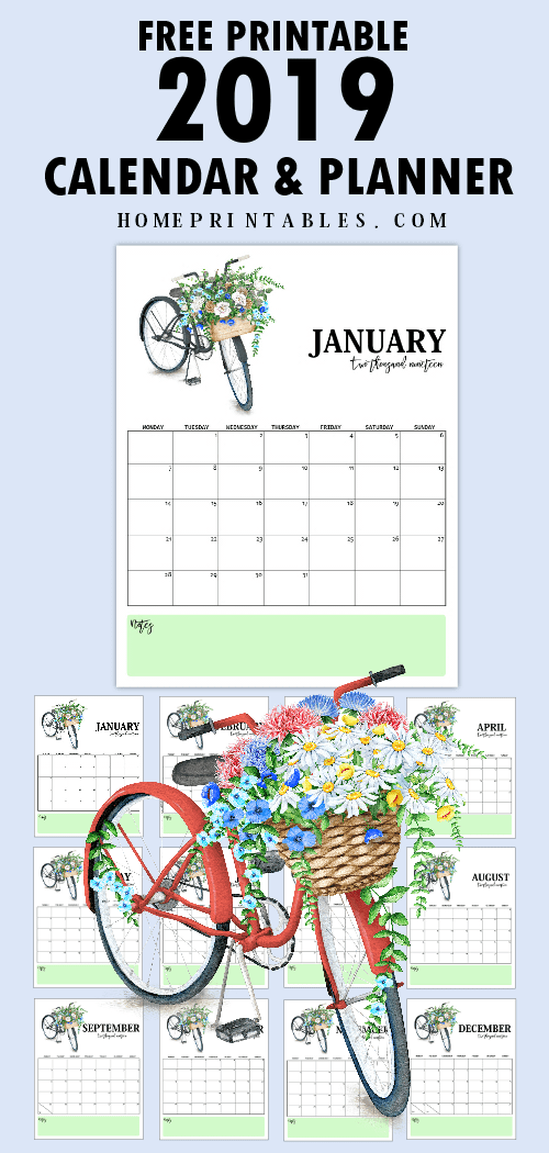 2019 Calendar Printable And Life Planner For Free So Beautiful