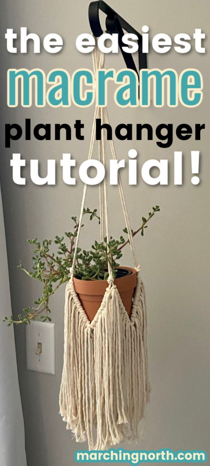 You gotta see the tutorial for this simple yet elegant boho style fringy macrame plant hanger! It only uses three very basic knots and I'll show you exactly how to do them step by step in this written and video tutorial. This beautiful DIY project is perfect for beginners or anyone who wants a gorgeous fringy plant hanger in an hour or less! The pattern is for a mini plant hanger, but you can easily convert it into a longer version. #macrame #fiberart #planthanger #diyhomedecor #diydecor