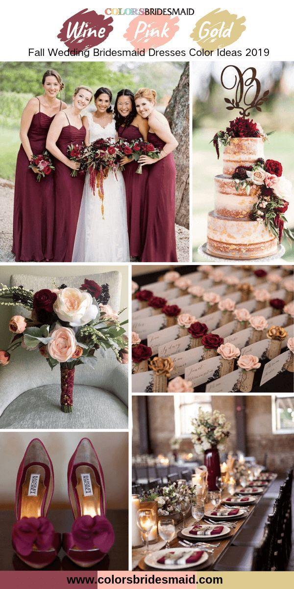 Burgundy Bridesmaid Dresses Wine color in 2019 Wedding