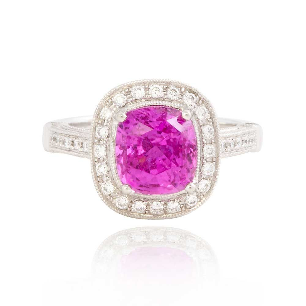 Custom Made Pink Sapphire and Diamond Engagement Ring | Exquisite ...