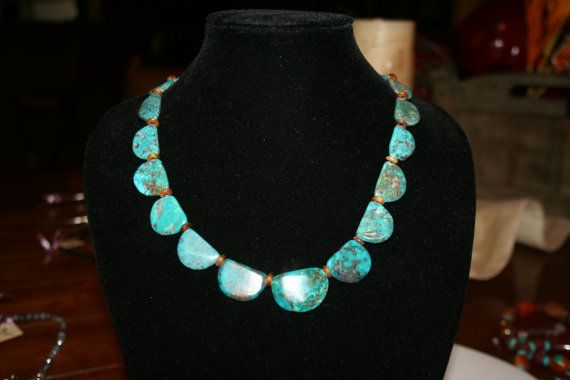 Turquoise and horn necklace Bisbee AZ area di DesertRoses3 su Etsy, $89.00