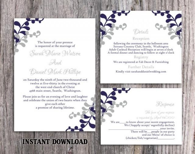 Instant Download Wedding Invitation Template Set High resolution