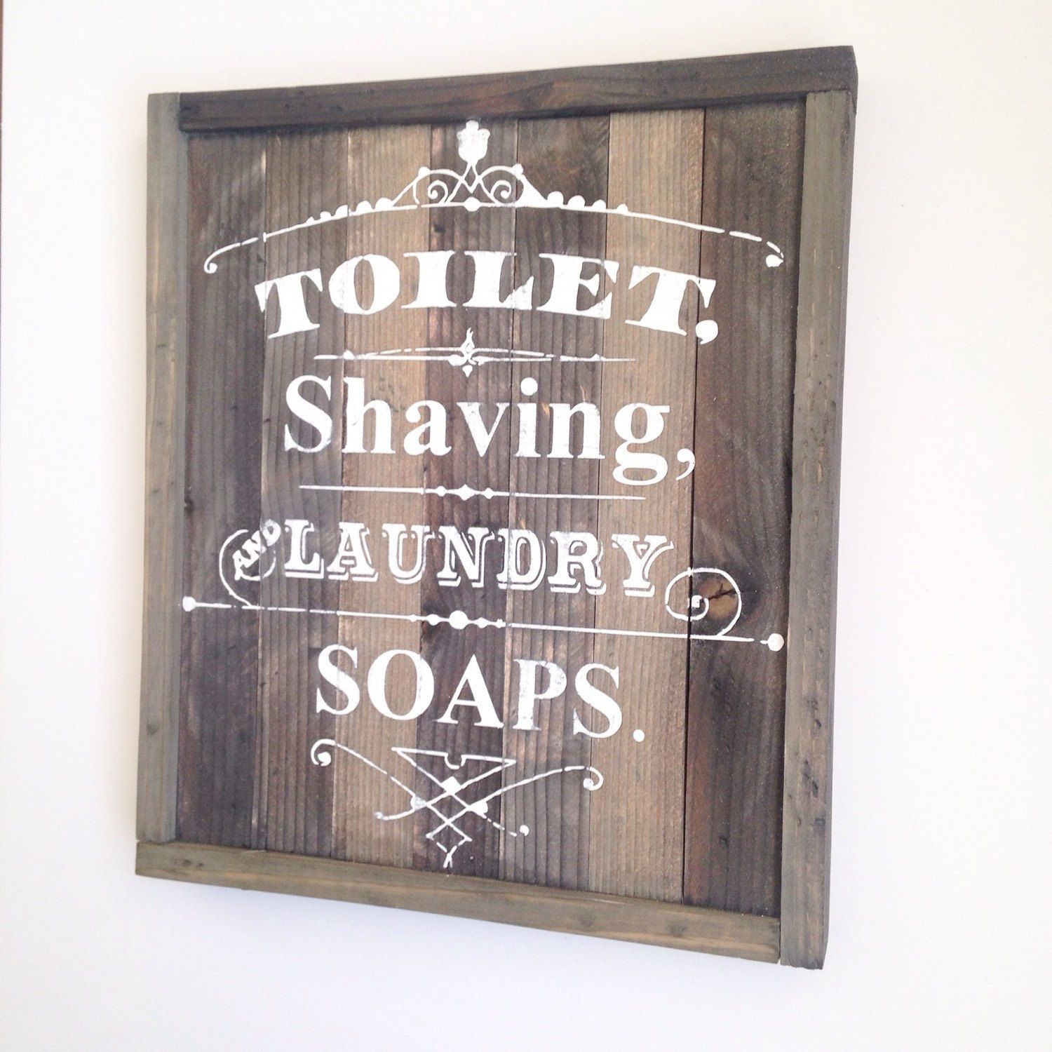 Vintage Bathroom Sign Toilet Shaving Laundry Soap Pallet