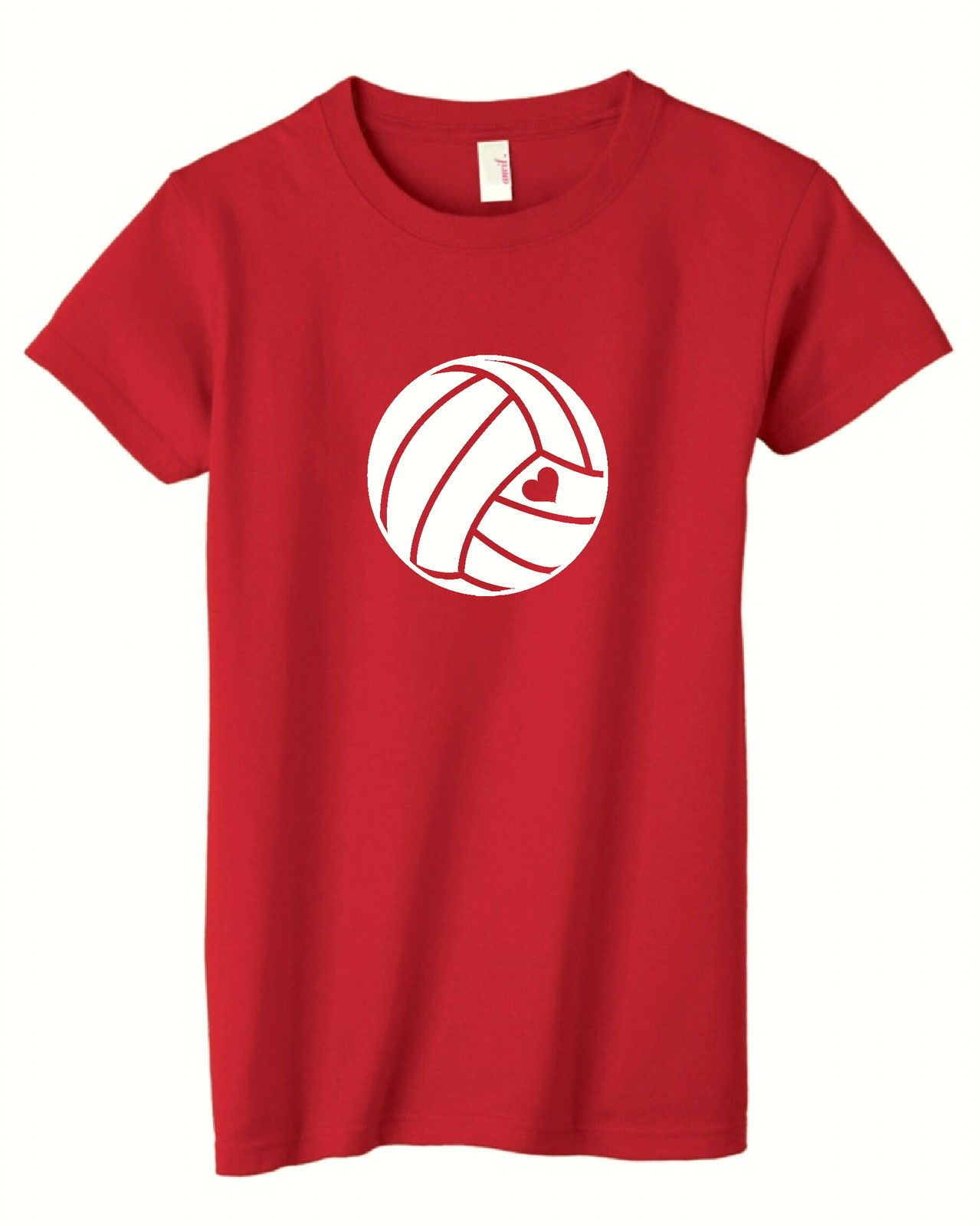 Heart Love Volleyball Red T Shirt Ladies Volleyball Tshirts Volleyball Tshirt Designs Volleyball Shirts