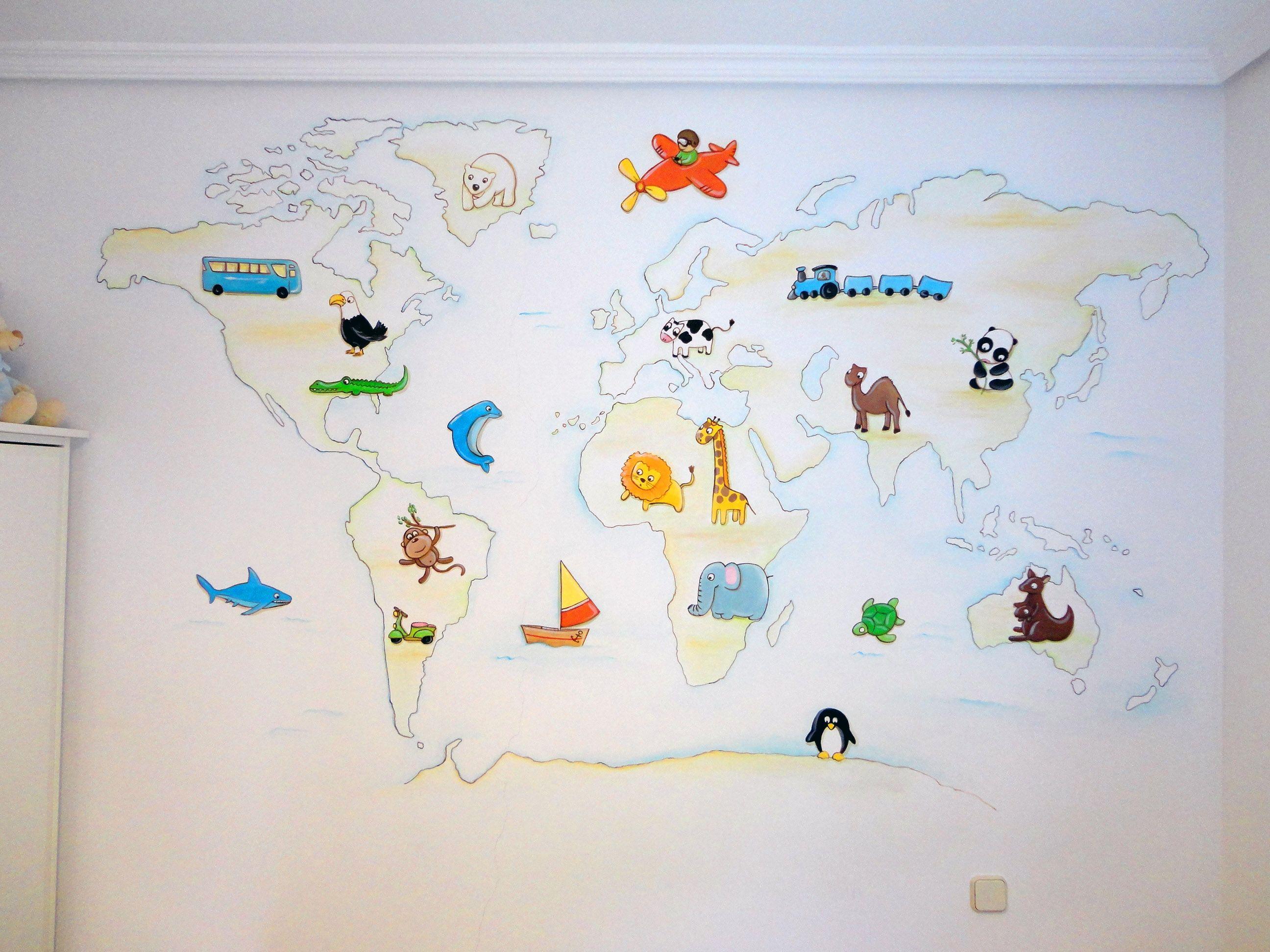 Mural pintado mapamundi murales infantiles pinterest - Papel pintado mapamundi ...