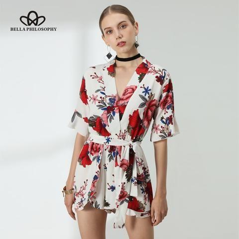 6b2c38d4df Bella Philosophy summer floral print short sleeve ruffles women playsuit  jumpsuit rompers beach style short overalls