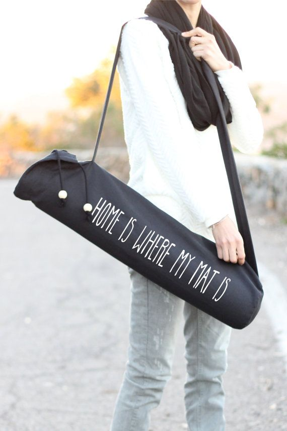 Items similar to Black Yoga Mat Bag - Home Is Where My Mat Is - Yoga Mat Carrier - Yoga Sling - Yoga - Black Mat Bag - Mat Bag - Yoga Mat Bag - Yoga Bag on Etsy