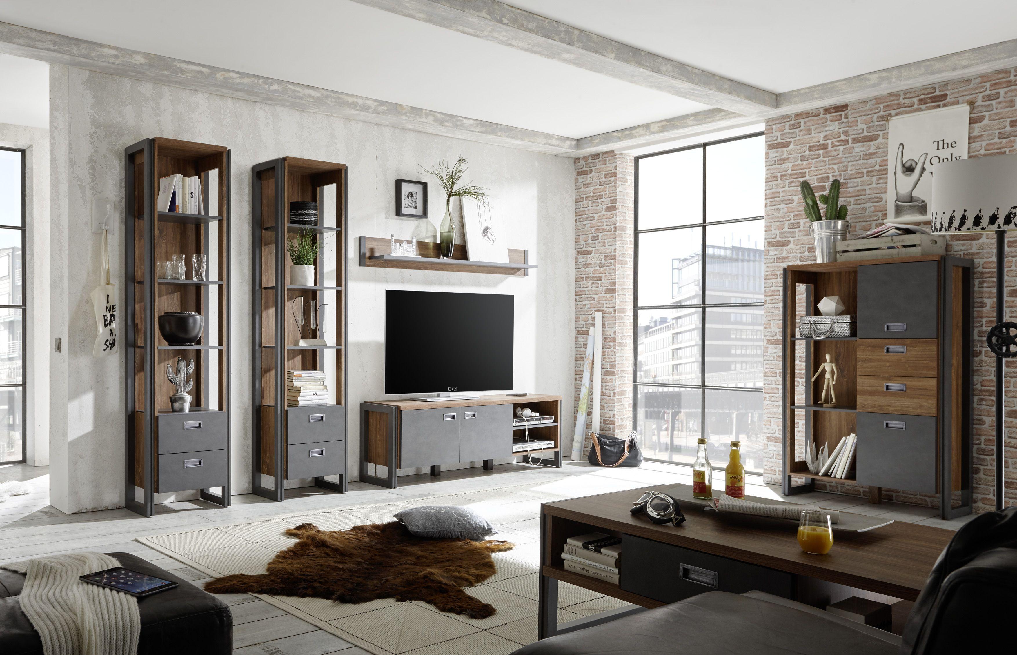 wohnzimmer set stirling oak/ applikation matera woody 16-00729