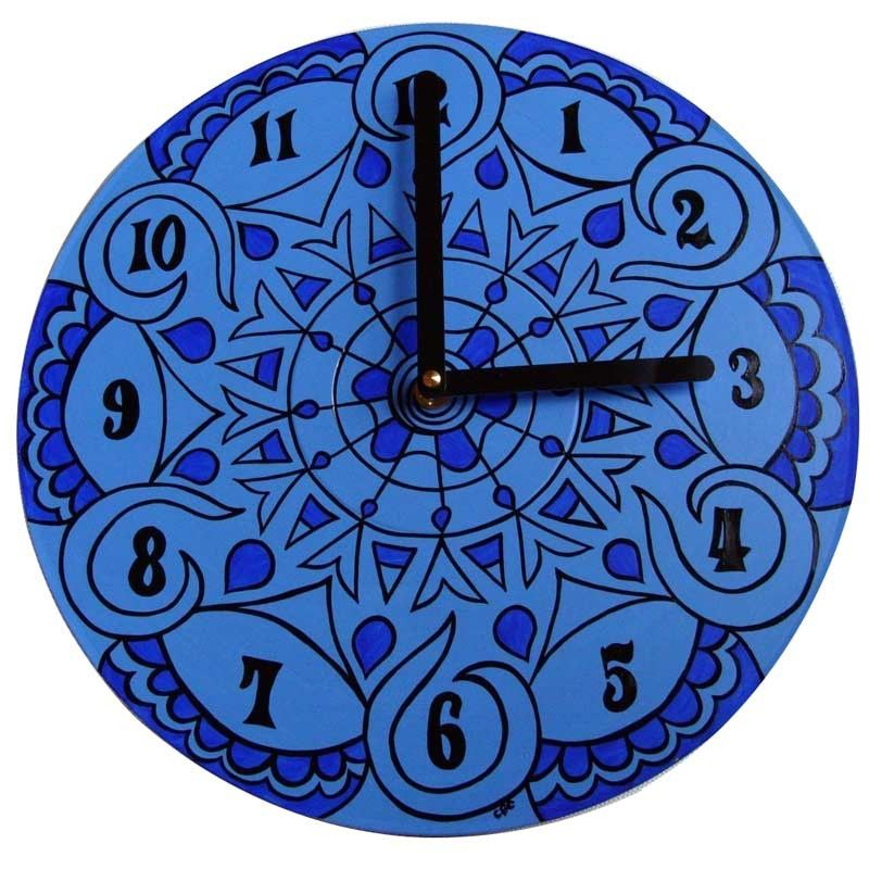 Palace Blue Mandala Record Clocks