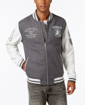 Sean John Men's Multi-Patch Wool Blend & Faux Leather Varsity Jacket, Only at Macy's  - Gray S