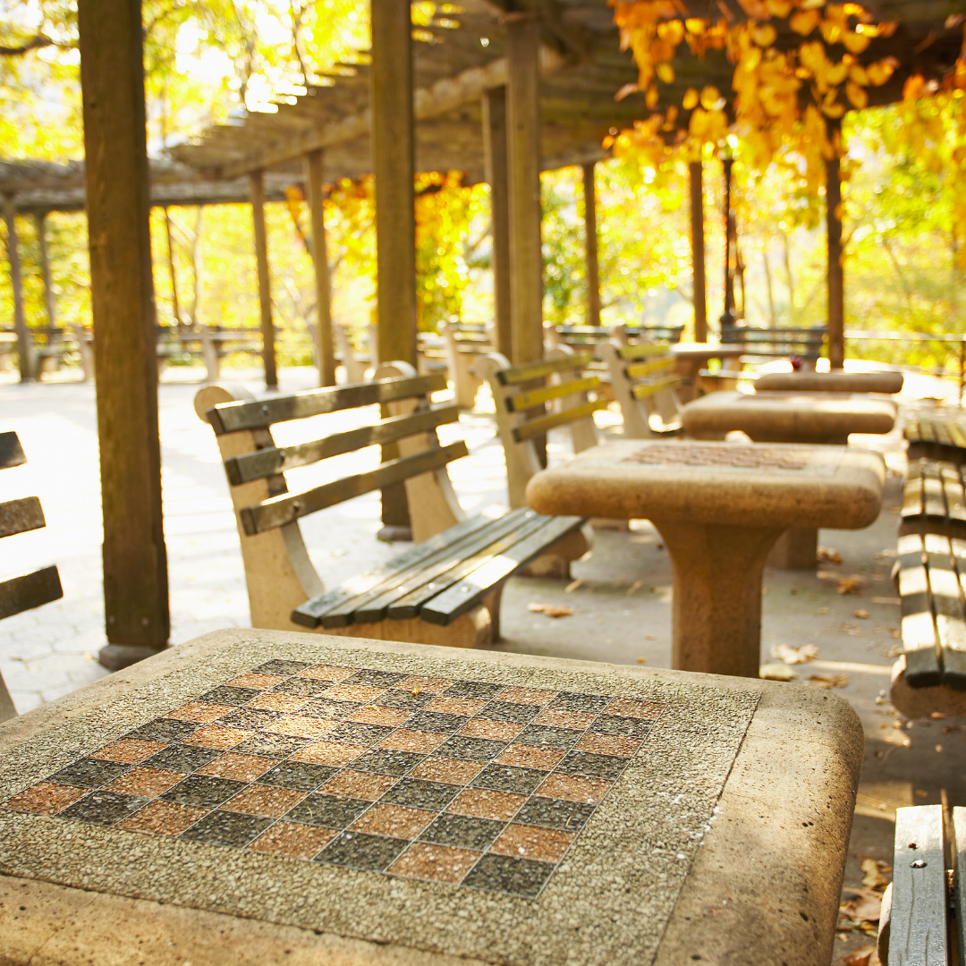 A Row Of Chess Board Tables In Central Park New York City New