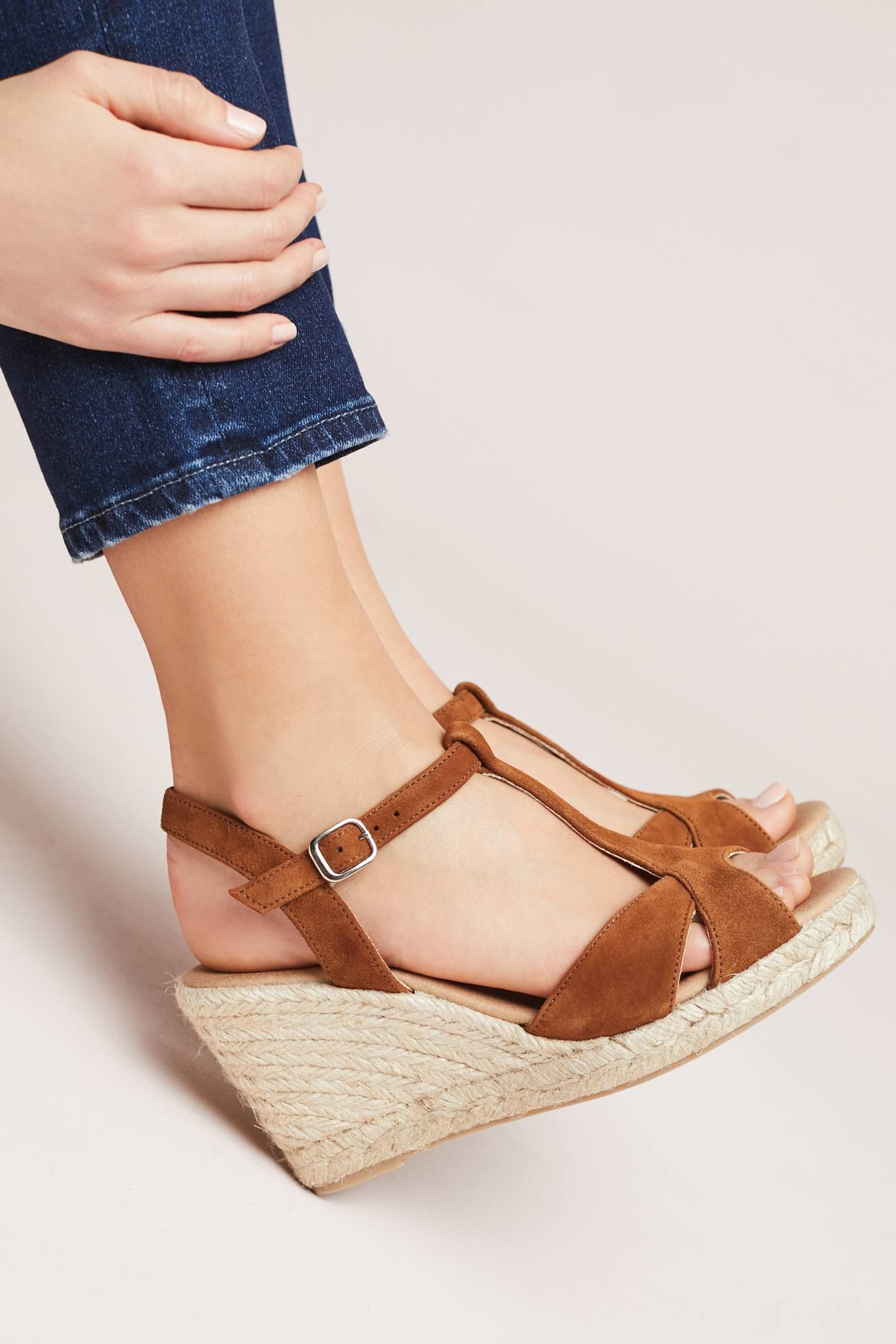 2649887511 Suede T-Strap Wedge Sandals | Capsule Wardrobe | Sandals, Wedges ...
