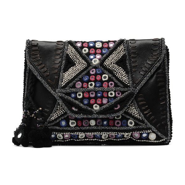 11c650edb46fd Antik Batik - Ale Wallet Handtaschen   schwarz  leder  textil  glitzer   clutch