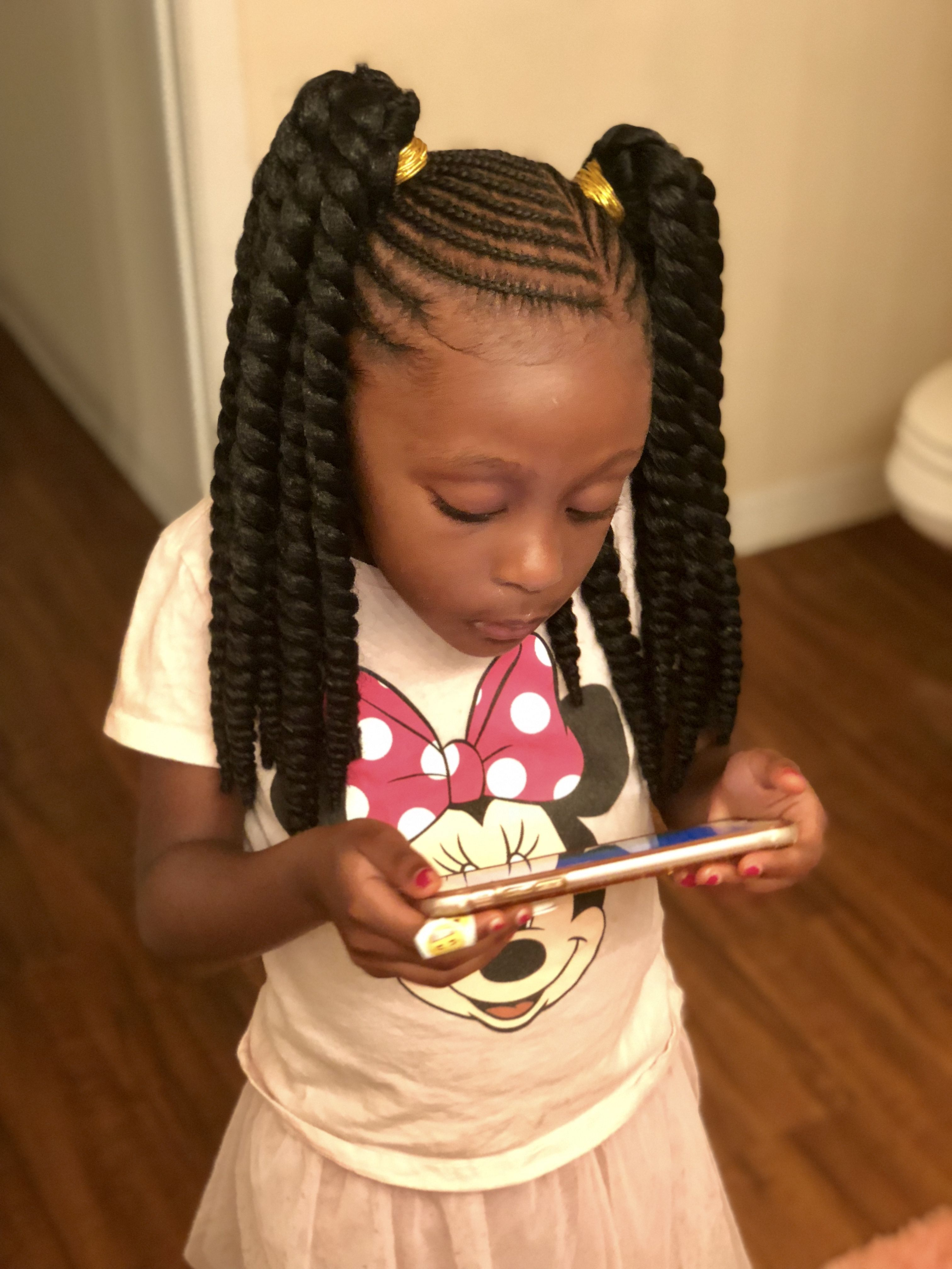 kid's braided style w/ crochet twists for ponytails! done by