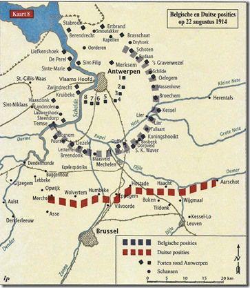 Positie troepen op 22 augustus 1914 - Op deze kaart is duidelijk de sterke verdedigingsgordel omheen Antwerpen te zien. Het verklaart waarom men voor Dendermonde opteerde om de Schelde over te steken en zo die vestiging en ook het Belgische leger te omsingelen.